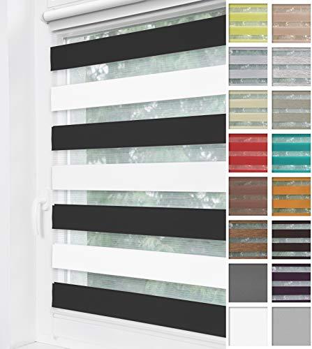 Home-Vision® Duo Rollo Klemmfix, Doppelrollo ohne Bohren mit Klämmträgern, Rollos für Fenster und Türen (Zebra, B100cm x H150cm)
