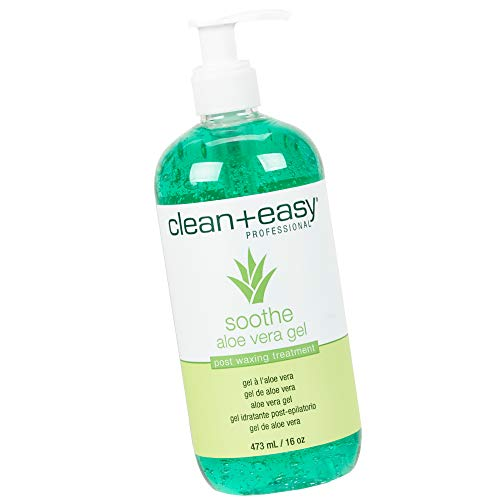 Clean + Easy Soothe Aloe Vera Gel Post Waxing Treatment, Calms and Soothes Irritated Skin After Waxing, Non-greasy and Gets Rid Of Excess Wax Residue, 16 oz