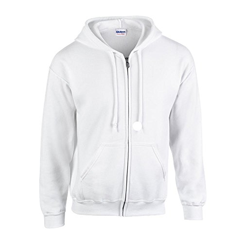 Gildan - Kapuzen-Sweatjacke 'Heavyweight Full Zip' / White, M