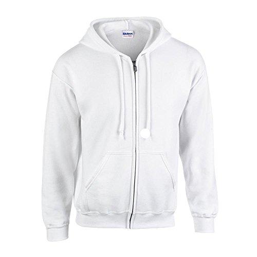 Gildan Mens 7.75 oz. Heavy Blend? 50/50 Full-Zip Hood (G186) -WHITE -S