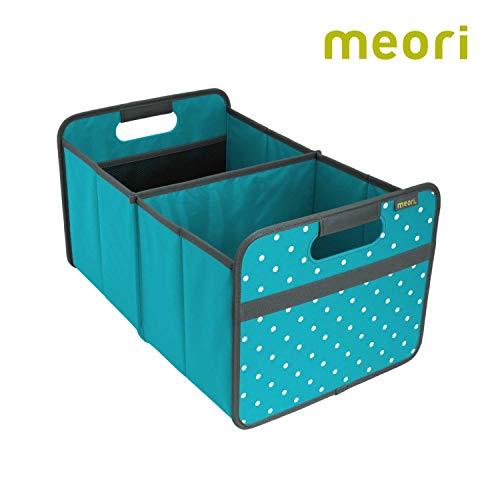 meori Faltbox Large in Azurblau mit Punkten – Stabile Klappbox L mit Griffen - die perfekte Allzweck Aufbewahrungslösung – Tragkraft bis 30 kg - A100015 - 32 x 50 x 27,5 cm
