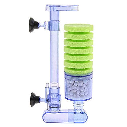 UPETTOOLS Aquarium Biochemical Sponge Filter, Ultra Quite Aquarium Air Pump Single Head Bio Sponge Fish Tank Foam Filter
