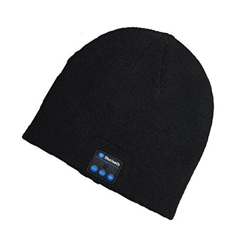 Bluetooth Cappello Senza Fili Bluetooth Musica Hat Inverno Berretti lavorato a maglia Berretto per corsa Sport all'aria aperta Sci campeggio Escursionismo Regali di Natale(Nero)