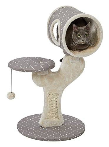 MidWest Homes for Pets Cat Tree | Salvador Cat Tree w/Built-in Sisal Cat Scratching Pad & Cat Look-Out Lounge, Mushroom/Diamond Pattern, Small Cat Tree