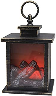 """YAKii 7"""" H Fireplace Lantern with 6 Hours Timer Battery Operated, Hanging or Sitting Decoration for Indoor & Outdoor Use, ..."""