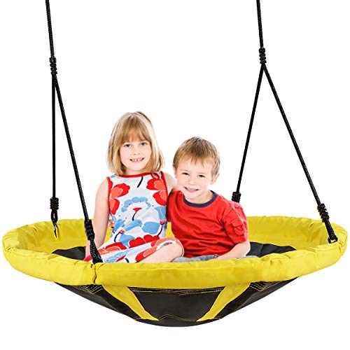 GYMAX Round Tree Swing, Adjustable Nest Saucer Swing Hold up to150kg, Indoor Outdoor Flying Seat for Kids and Adults, 100CM