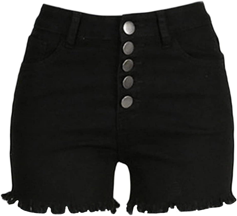 Women's Microstretch Cotton Denim Shorts High Waist Raw Hem Jean Hot Pants Butt Lifting Frayed Multi-Button Short Jeans