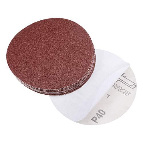 Disco de lijado PSA de 5 pulgadas, adhesivo de óxido de aluminio, papel de lija posterior, grano 40, 10 piezas
