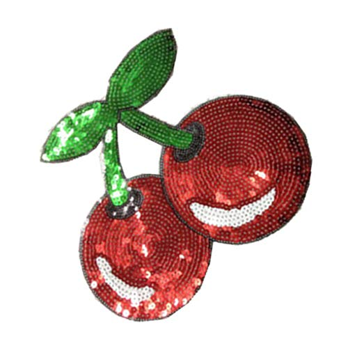 Qinghengyong Cerezas del patrón de Ropa Parches de aplicación Goma Precioso Lentejuelas Apliques de Vestuario Pegar la Mano de Bricolaje Obras Decoración Rojo + Verde 2