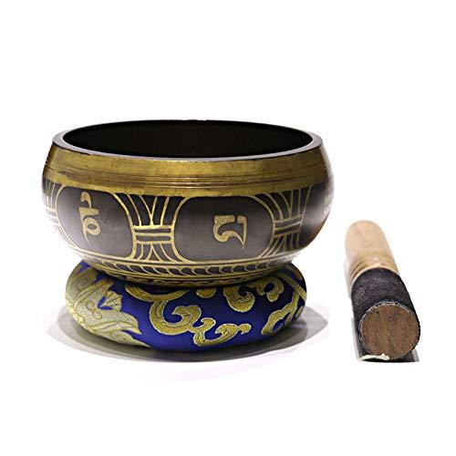 Juego de cuencos tibetanos para cantar, cuenco de sonido de música de meditación con amortiguador martillado a mano para curación holística, relajación, estrés, alivio de la ansiedad, yoga, zen, reg
