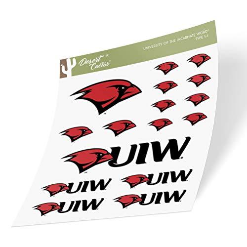 University of The Incarnate Word UIW Cardinals Sticker Vinyl Decal Laptop Water Bottle Car Scrapbook (Type 1 Sheet)