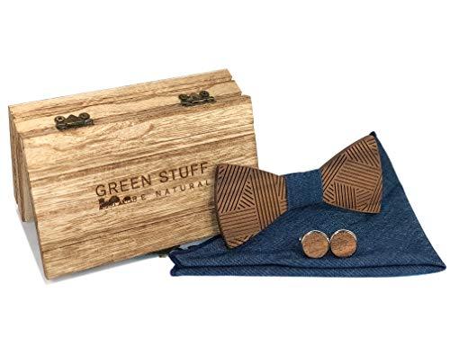 Green Stuff Johan - Papillon in legno ecologico - Realizzato a mano in legno di noce con gemelli e fazzoletto da taschino abbinati - 1 prodotto acquistato = 1 albero piantato Look jeans. 36
