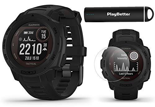Garmin Instinct Solar Tactical (Black) Power Bundle | +PlayBetter 2200mAh Portable Charger & HD Screen Protectors | Rugged, Heart Rate | Solar Charging | Ultimate Outdoor GPS Watch