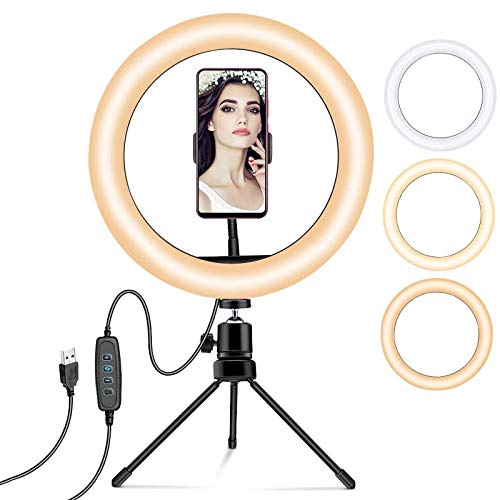 YDBET Ring Light with Tripod Stand 10.2in LED Flash Light with Bluetooth Remote & Phone Holder, Dimmable Ring Light Kit for Youtube Video Shooting, Makeup