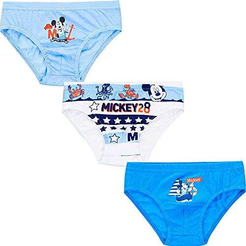 SUN CITY Bragas de ropa interior para niño, diseño de Mickey Mouse de Disney, juego de 3 piezas, 100% algodón, 2 – 8 años, Light Blue White Blue, 6-8 años