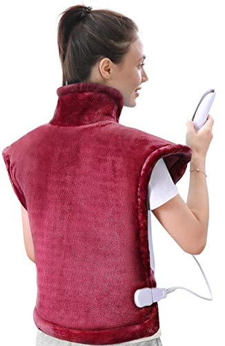 "Large Heating Pad for Back and Shoulder, 24""x33"" Heat Wrap with Fast-Heating and 5 Heat Settings, Keep Warm in Cold Days, Auto Shut Off Available - Crimson"
