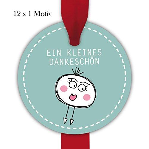 Kartenkaufrausch 10x12 süße, runde Dankes Geschenkanhänger farbig, Papieranhänger Etiketten in Kreis Form für Selbstgemachtes: EIN kleines Dankeschön • um Geschenke schöner zu schenken
