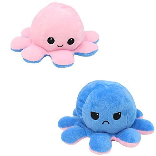 AILIEE Kleine Oktopus-plüschpuppe Puppe Beidseitig Plush Toy Wendbares Spielzeug Flip Tintenfisch Plüschtier Kinder Geburtstag Geschenk Weiches Stofftier 1 Stück(Blau/Rosa,1PC)