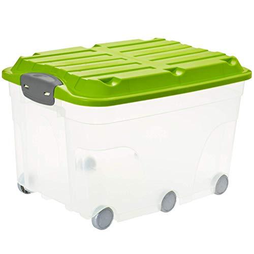 Rotho Roller 6 - Caja de Almacenaje de 57 L con Tapa y Ruedas, Plástico (PP) sin BPA, Transparente/Verde, 57 L (59.5 x 40.0 x 37.0 cm)