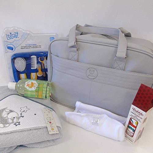 Geschenkset met 15 delen geboorte grijze geboorte badjas driehoek badjas body halve mouwen crème wisserset hygiënische tas kinderwagen
