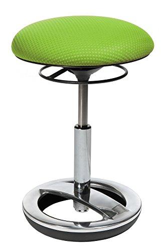 Topstar Sitness Bob, ergonomischer Sitzhocker, Arbeitshocker, Bürohocker mit Schwingeffekt, Sitzhöhenverstellung, Standfußring Alu, poliert, Stoffbezug, grün