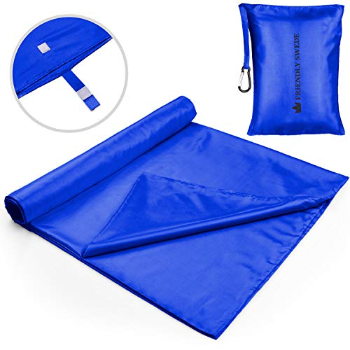 The Friendly Swede Sábana para Saco de Dormir - Ligera, para Acampada y Viaje - Cierre de Velcro o Cremallera (Azul)