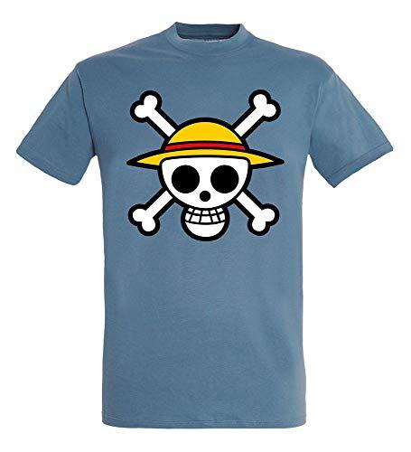 ABYstyle - UNA Pieza - Camiseta - Cráneo con Mapa - Hombre - Piedra Azul (M)