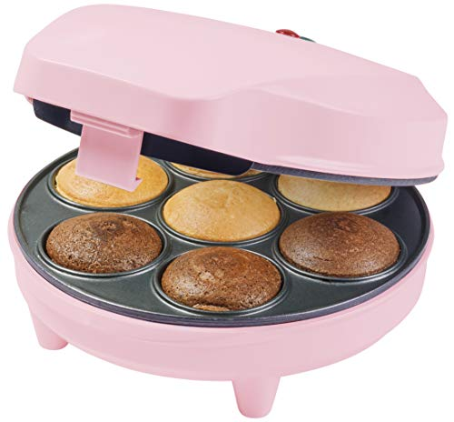 Bestron Cupcake Maker im Retro Design, Sweet Dreams, Antihaftbeschichtung, 700 Watt, Rosa