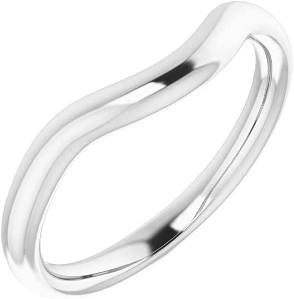Solid 35% OFF 10K Mail order cheap White Gold Curved Notched Wedding for 4mm Band Ova 6 x