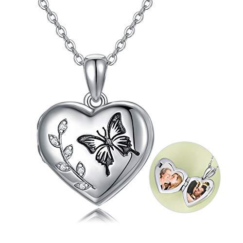 Medaillon Kette Sterling Silber 925 Schmetterling Halskette, Amulett Medaillon zum öffnen für Bilder Foto mit Kristallen von Swarovski, Geschenke für Freundin Frau Mutter