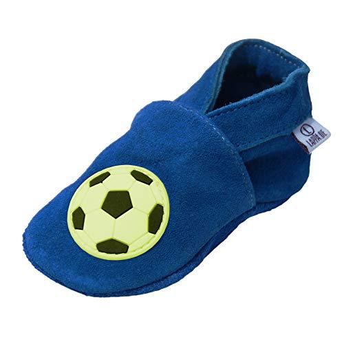 Lappade Fussball Blau Wildleder 231G Lauflernschuhe Lederpuschen Hausschuhe Krabbelschuhe Baby mit Gummisohle 4-5 Jahre (EU 28/29)