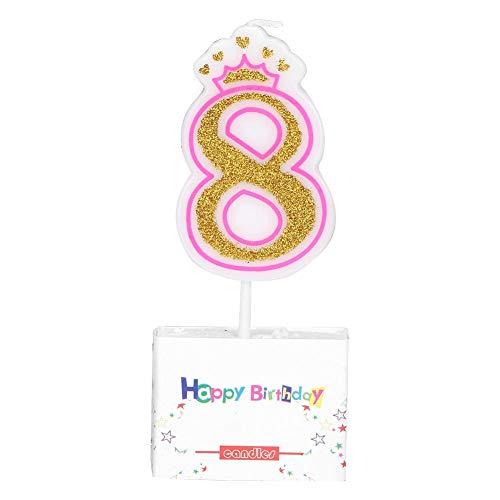 Kids Birthday Candle Party Crown Smoke Free Cake Candles Numbers Candles Age 0-8 Glitter Cake Topper Decoration Party Favor for Birthday Party, Cupcake Candle for Child Birthday (8)