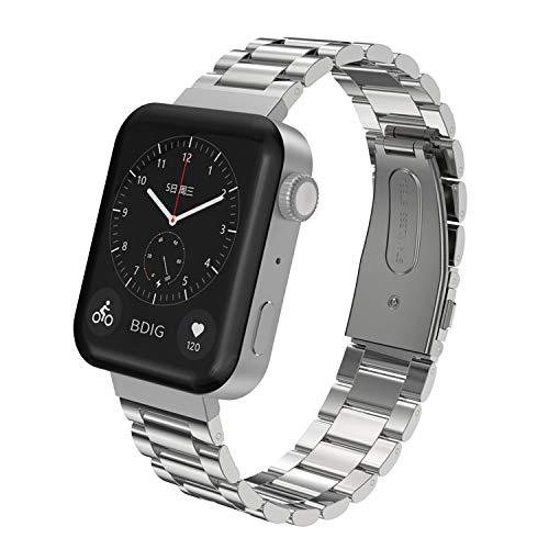 SenMore 18mm Correa Compatible con Mi Watch Correas Metal,Pulsera de Acero Inoxidable Agradable para Mi Watch Correa (Watch Not Included) (Plata A)