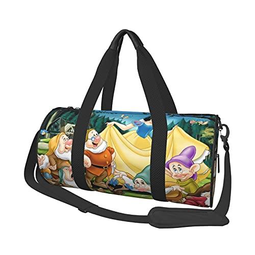 Snow White Seven Enanos Bolsa de viaje de corta distancia de gran capacidad para oficina, viajes, natación, fitness, moda, impermeable, portátil, bolsa de viaje