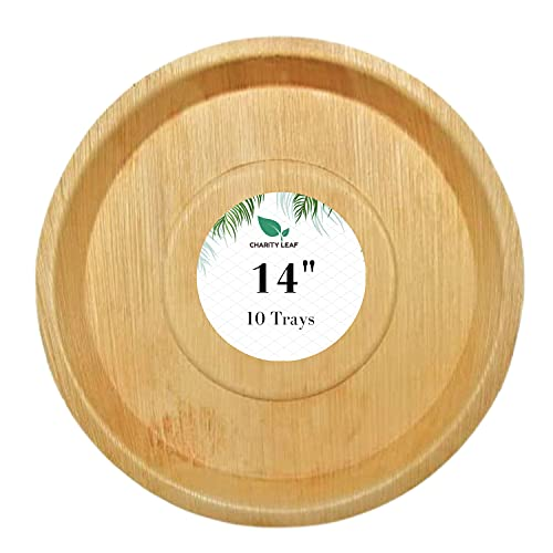 Charity Leaf Disposable Palm Leaf Deep Platter Like Bamboo Round Platter Serving Tray  All Natural and Biodegradable   Weddings, Charcuterie Boards, BBQs, and Catering   Round (10 Trays) (14 Inch)