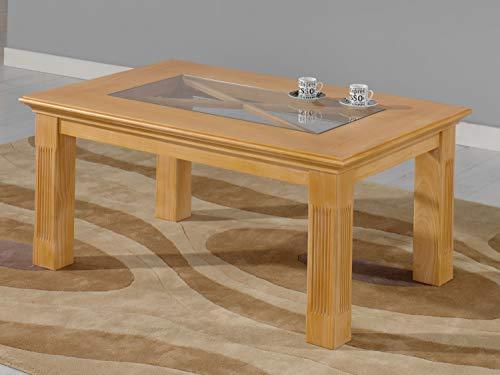casamia Mesa de café rectangular 110 x 75 cm, Duett/Allegro con tablero de cristal de pino macizo, caramelo