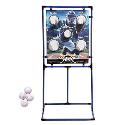 Sport Squad Target Toss Game Set - Choose Either Football Toss or Baseball Toss - Portable Indoor or Outdoor Design for Cookouts, Tailgates, or Backyard Fun - Includes 4 Balls - Easy Assembly, Multi