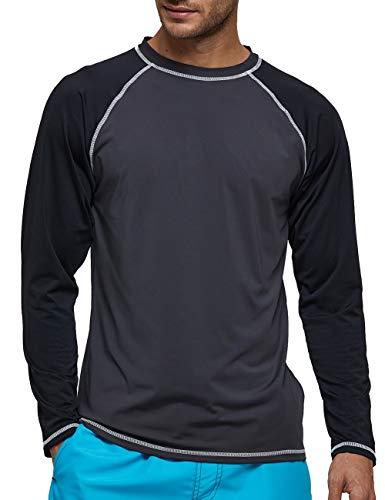 LBL Leading the Better Life T-Shirt Homme Anti-UV Protection Solaire UPF50+ Séchage Rapide pour Les activités extérieurs Noir et Gris L