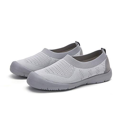 Mujer Zapatos Deporte Zapatillas Zapatos Perezosos De Gran Tamaño De Tejido Volador para Mujer, Zapatos De Madre De Un Solo Paso De Primavera Y Otoño, Calcetines Y Zapatos De Mujer,Gris,38