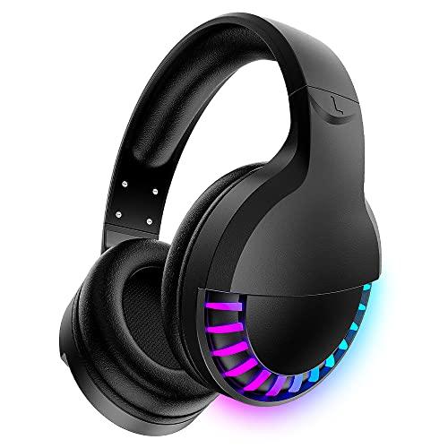 Auriculares inalámbricos con Bluetooth para colocar sobre la oreja, estéreo de alta fidelidad de 5.1 canales, retroiluminación LED RGB para carreras de caballos, auriculares de 1000 mAh con micrófono