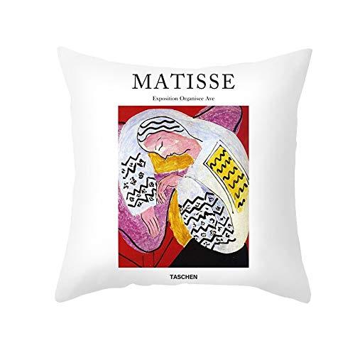 PPMP Matisse Aceite Funda de cojín Pintura al óleo sofá Funda de Almohada decoración del hogar Funda de cojín Decorativa Funda de Almohada abrazadora A7 45x45 cm 1pc