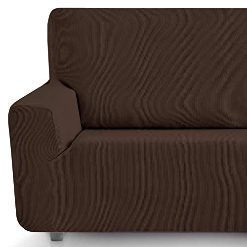 Eiffel Textile Funda Sofa Elastica Protector Adaptable Rústica Sofá, 94% Poliéster, Marrón, 3 Plazas (180-240 cm)
