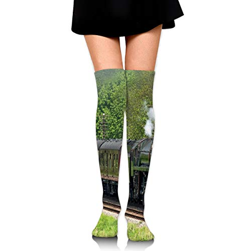 Women's Knee High Socks(2 Pairs), Steam Train Scottish Borders Long Socks for Women - Best for Pregnancy and Travel