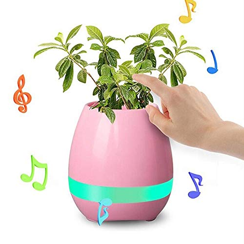 CGE Music Plant Pot,Music Flower Pot Bluetooth Speaker Smart Touch Plant Piano Multi-Color LED Light(Pink)