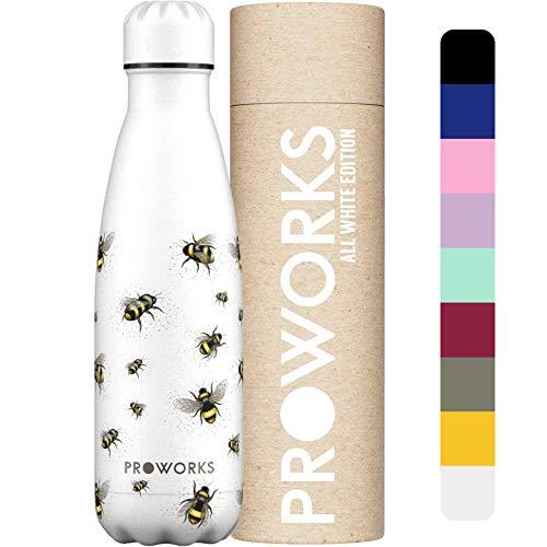 Proworks Botellas de Agua Deportiva de Acero Inoxidable   Cantimplora Termo con Doble Aislamiento para 12 Horas de Bebida Caliente y 24 Horas de Bebida Fría - Libre de BPA - 350ml – Abeja Blanco