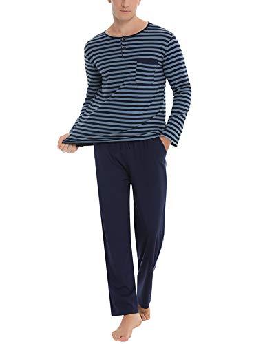 Akalnny Herren Schlafanzug Lang Baumwolle Gestreift Zweiteiliger Pyjama Set Langarm Shirt mit Schlafanzughose Blau L