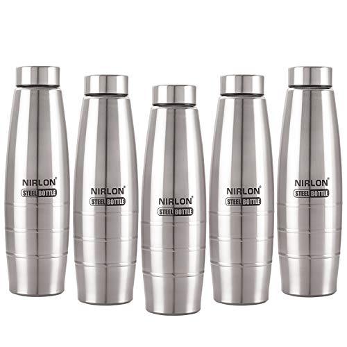 Nirlon Small stainless steel water bottle for school 1000 Ml, Set Of 05