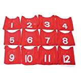 Spectrum Youth Mesh Scrimmage Vest with Numbers, Red (Pack of 12)