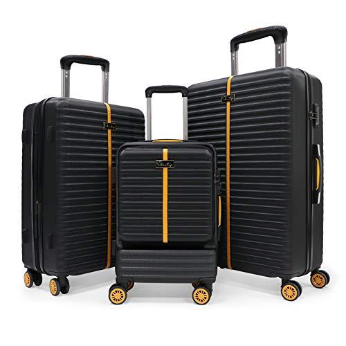 Maletas Rígidas Juego de Maletas de Viaje Ligeras 3 Pzs.Set Trolley ABS 4 Ruedas(Cabina + Mediana + Grande) Rígidasy Resistentes,Traje Negro