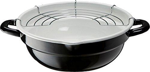 高木金属 天ぷら鍋 ホーロー IH対応 24cm ブラック ホワイト TP-24R-BW